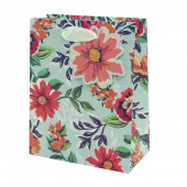 Пакет подарочный, Яркие цветы, Мятный, с блестками, 32*26*12 см, 1 шт.