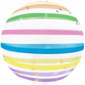 Шар (20''/51 см) Сфера 3D, Deco Bubble, Разноцветные полоски, Прозрачный, 1 шт. в упак.