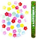 Пневмохлопушка (16/40 см), Метализированные цветы, Ассорти, 1 шт.