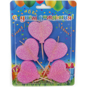 Свечи Сердце, Розовый, с блестками, 6 см, 5 шт.