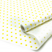 Упаковочная бумага, Папирус 29гр (0,35*5 м) Желтые точки, Белый, 1 шт.