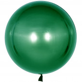 Шар с клапаном (18''/46 см) Сфера 3D, Deco Bubble, Зеленый, Хром, 10 шт.