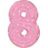 Шар (42''/107 см) Цифра, 8 Искры, Розовый, 1 шт. в упак.