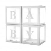 Набор коробок для воздушных шаров Baby, Белые грани, 30*30*30 см, в упаковке 4 шт.