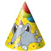 Колпаки Слоненок с шариками, Желтый, 6 шт.
