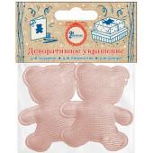 Декоративное украшение Фигура, Медвежонок, Розовый, 4,7*5,7 см, с блестками, 2 шт.