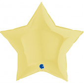 Шар (36''/91 см) Звезда, Макарунс, Светло-желтый, 1 шт.