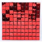 Декоративная панель Пайетки, 30*30 см, Красный, Металлик, 1 шт.
