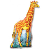 Шар (47''/119 см) Фигура, Жираф, Оранжевый, 1 шт.
