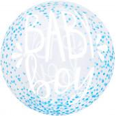 Шар (20''/51 см) Сфера 3D, Deco Bubble, С Рождением Мальчика, Прозрачный, Кристалл, 1 шт.