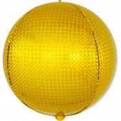 Шар (24''/61 см) Сфера 3D, Стерео, Золото, Голография, 1 шт.