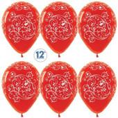 Шар (12''/30 см) Узоры, Красный (315), кристалл, 5 ст, 50 шт.