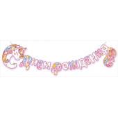 Гирлянда-буквы С Днем Рождения! (цветочный единорог), 300 см