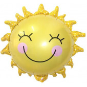 Шар с клапаном (17''/43 см) Мини-фигура, Солнце, Желтый, 1 шт.