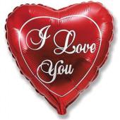 Шар (18''/46 см) Сердце, Я Люблю Тебя, Красный, 1 шт.