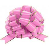 Бант Шар, Золотая полоска, Розовый, Металлик, 36 см, 1 шт.