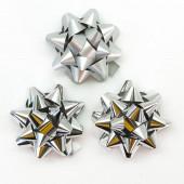 Бант Звезда, Серебро, Металлик, 7 см, 12 шт.