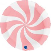 Шар (36''/91 см) Круг, Леденец, Макарунс, Розовый/Белый, 1 шт.