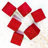 Фигура из пенопласта Куб, Красный, Металлик, 3 см, с блестками, 6 шт.