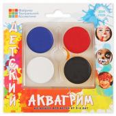 Аквагрим профессиональный, 4 цвета (белый/черный/синий/красный)