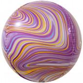 Шар (24''/61 см) Сфера 3D, Мраморная иллюзия, Сиреневый, Агат, 1 шт.