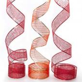 Лента декоративная (6 см*2,74 м) Ассорти дизайнов, Органза, Красный, 1 шт.