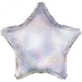 Шар с клапаном (10''/25 см) Мини-звезда, Серебро, Голография, 1 шт.