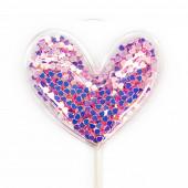Топпер в торт, Сердце с блестками, Розовый, 1 шт.