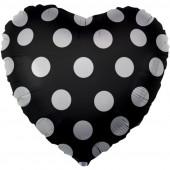 Шар (18''/46 см) Сердце, Белые точки, Черный, 1 шт.