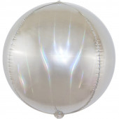 Шар (24''/61 см) Сфера 3D, Светлое серебро, Голография, 1 шт.