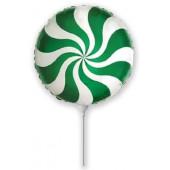 Шар (9''/23 см) Мини-круг, Леденец, Зеленый, 1 шт.