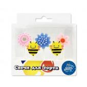 Свечи фигурные, Цветы и Пчелы, 7 см, 5 шт.