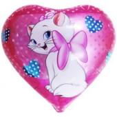 Шар (18''/46 см) Сердце, Кошка с бантиком, 1 шт.