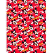 Упаковочная бумага (0,7*1 м) Микки Маус, Красный, 1 шт.