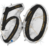 Шар (44''/112 см) Цифра, 50 Мрамор Калакатта, Черный, Голография, 1 шт.