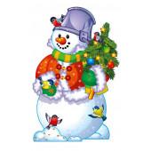 Плакат Снеговик с елочкой, 41 см