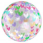 Шар (20''/51 см) Сфера 3D, Deco Bubble, Множество сердец, Прозрачный, 1 шт. в упак.