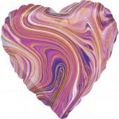 Шар (18''/46 см) Сердце, Мрамор, Золотая нить, Сиреневый, Агат, 1 шт.