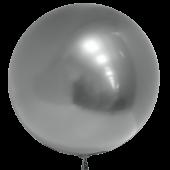Шар (18''/46 см) Сфера 3D, Deco Bubble, Серебро, Хром, 10 шт.