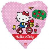Шар (18''/46 см) Сердце, Hello Kitty, Котенок на велосипеде, Розовый, 1 шт. в упак.
