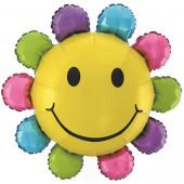 Шар с клапаном (17''/43 см) Мини-фигура, Цветок, Разноцветный, 1 шт.