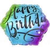 Шар (18''/46 см) Фигура, С Днем Рождения (изящный шрифт), Разноцветный, Градиент, 1 шт.