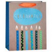 Пакет подарочный, С Праздником (стильные свечи), с блестками, 32*26*12 см, 1 шт.