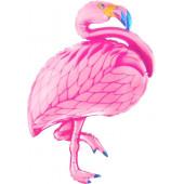 Шар с клапаном (17''/43 см) Мини-фигура, Фламинго, Розовый, 1 шт.