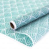 Упаковочная бумага, Тишью (0,7*10 м) Абстракция, Бирюзовый, 1 шт.