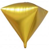 Шар 3D (24''/61 см) Алмаз, Золото, Сатин, 1 шт.