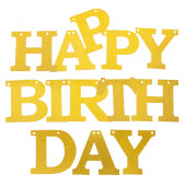 Гирлянда Happy Birthday, Золото, с блестками, 11*150 см, 1 шт.