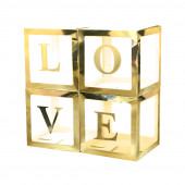 Набор коробок для воздушных шаров Love, Золотые грани, 30*30*30 см, в упаковке 4 шт.