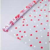 Упаковочная пленка (0,7*8 м) Сердечки, Красный/Белый, 1 шт.