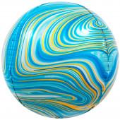 Шар (24''/61 см) Сфера 3D, Мраморная иллюзия, Голубой, Агат, 1 шт.